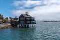 Pier Cafe at Seaport Village, San Diego, California during the day Royalty Free Stock Photo