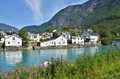 Waterfront skjolden beautiful houses in norway Royalty Free Stock Photos