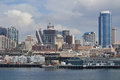 Waterfront and skyline seattle washington s as viewed from wsdot ferry march Stock Photography