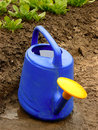 Watering can against spinach bed Stock Photography