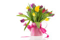 Watering can with bouquet tulips for birthday Royalty Free Stock Photo