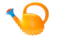 Watering can yellow color on a white background isolated close up Stock Image
