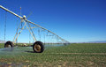Watering the field large mobile sprayer irrigates fields with a low evaporation system Royalty Free Stock Image