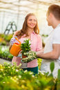 Watering and taking care of flowers young gardeners Stock Photography