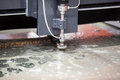 Waterjet cutting cnc machine in working Royalty Free Stock Photo