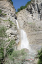 Waterlfall sorrosal waterfall at the village of broto in the spanish pyrenees Royalty Free Stock Photo