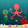 Waterlife the octopus alien and drink cocktails on the seabed Stock Photos