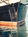 Waterline of boat front view bow on a ship with reflection sea surface vintage tall ship mooring in harbor old passenger Stock Photography