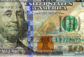 Watermark on new hundred dollar bill redesigned Royalty Free Stock Images