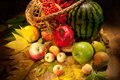 Watermelon, Apples And Wicker BAsket Royalty Free Stock Photo