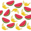 Watermelon and banana Summer Pattern Vector