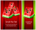 Watermelon banner with fresh slices of text vector illustration Royalty Free Stock Photography