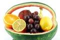 Watermelon basket with fruit Stock Photos