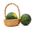 Watermelon in basket Royalty Free Stock Photo