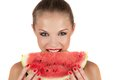 Watermelon beautiful young woman eat juicy over white Royalty Free Stock Photo