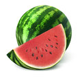 Watermelon and big slice  on white background Royalty Free Stock Photo