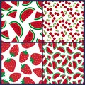 Watermelon, cherry and strawberry seamless pattern. Berries fashion design. Food print for dress, skirt Royalty Free Stock Photo