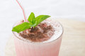 Watermelon cocktail with milk and mint close up Royalty Free Stock Photography