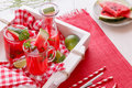 Watermelon cocktails freshly made and pieces of melon on a rustic wooden tray Royalty Free Stock Photos