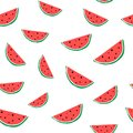 Watermelon colorful seamless pattern. Hand drawn healthy fruit. Royalty Free Stock Photo