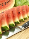 Watermelon cut in triangles, close-up Stock Image