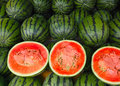 Watermelon the dissected watermelons are sold Royalty Free Stock Photography