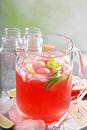 Watermelon drink with lime in a pitcher small Stock Photos