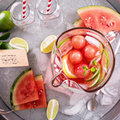 Watermelon drink with lime in a pitcher small Stock Photo