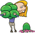 Watermelon drop a cartoon woman carrying a load of watermelons drops one Royalty Free Stock Photography