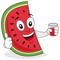 Watermelon with a fresh squeezed juice happy cartoon character smiling thumbs up and holding glass isolated on white Royalty Free Stock Photo