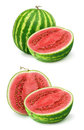 Watermelon fresh watermelons over white background Stock Photos