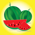 Watermelon fresh on yellow background Royalty Free Stock Images