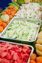 Watermelon and fruit mixed on tray Royalty Free Stock Photo