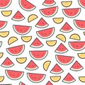 Watermelon fruit pattern on white. Bright beautiful citrus seamless background. Vector illustration in flat