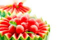 Watermelon fruit salad fresh and ripe balls Stock Photo