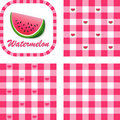 Watermelon & Gingham Seamless Patterns Royalty Free Stock Images