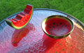 Watermelon handicraft several pieces of on display table bowl slice Royalty Free Stock Images