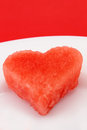 Watermelon heart a piece of cut into a shape a delightful image for san valentine s day Royalty Free Stock Photos