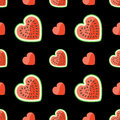 Watermelon and hearts on seamless pattern.Black ba Stock Image