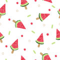 Watermelon ice cream on stick seamless pattern Royalty Free Stock Photo