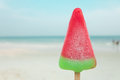 Watermelon ice-cream summer time on sea beach. Royalty Free Stock Photo