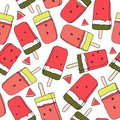 Watermelon ice lolly seamless pattern. Vector. Summer theme.