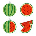 Watermelon icon set. Whole ripe green stem. Slice cut half seeds. Green Red round fruit berry flesh peel. Natural healthy food. Sw Royalty Free Stock Photo