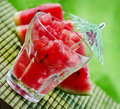 Watermelon juice on green background Royalty Free Stock Image