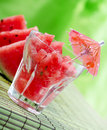 Watermelon juice on green background Royalty Free Stock Photography
