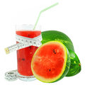 Watermelon juice and meter on white background Stock Images