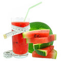 Watermelon juice and meter on white background Royalty Free Stock Photo