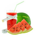 Watermelon juice and meter on white background Royalty Free Stock Photos