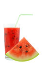 Watermelon juice and pieces on white background Stock Image
