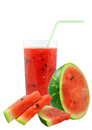 Watermelon juice and pieces on white background Royalty Free Stock Photos